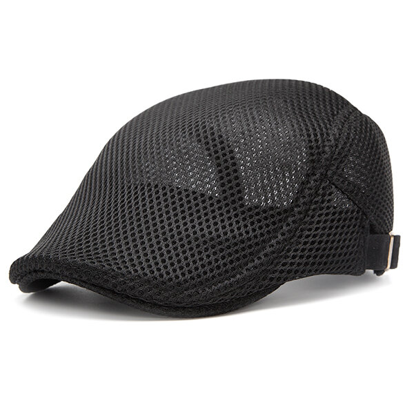 f30ddaf1 Men Summer Mesh Beret Cap Breathable Visor Flat Hat Adjustable Solid Color  Newboy Hat Cheap - NewChic