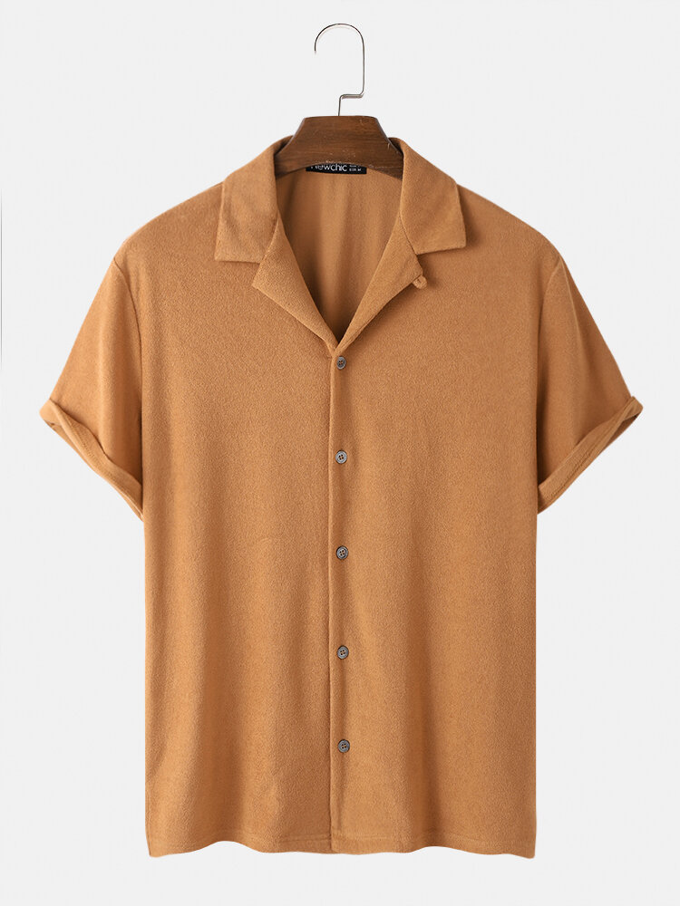 Mens Towelling Solid Color Revere Collar Basics Short Sleeve Shirts