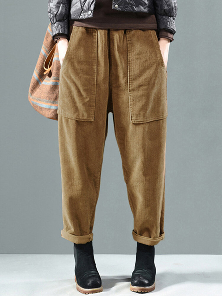 Solid Color Side Pockets Elastic Waist Corduroy Pants