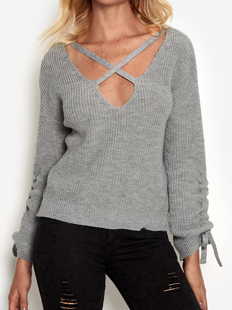 Solid Color Knitted Knotted Sweater