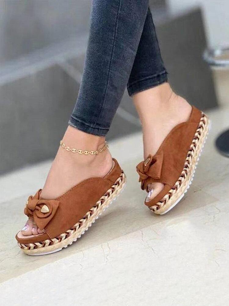 Plataforma de alpargatas con punta abierta y lazo informal de gran tamaño zapatillas para Mujer