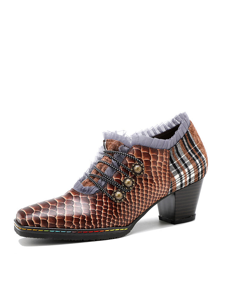 Socofy Retro Snakeskin Animal Print Lace Decor Genuine Leather Patchwork Square Toe Side Zipper Chunky Heel Pumps