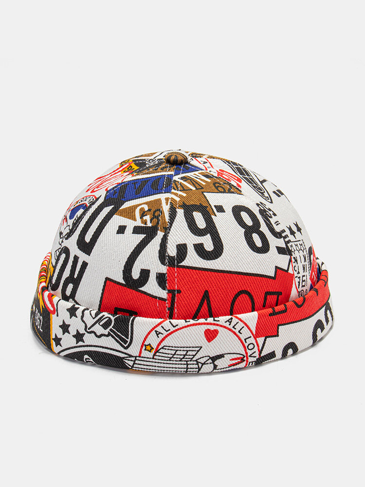 Unisex Cotton Numbers And Letters Pattern Printing Fashion Brimless Beanie Landlord Cap Skull Cap