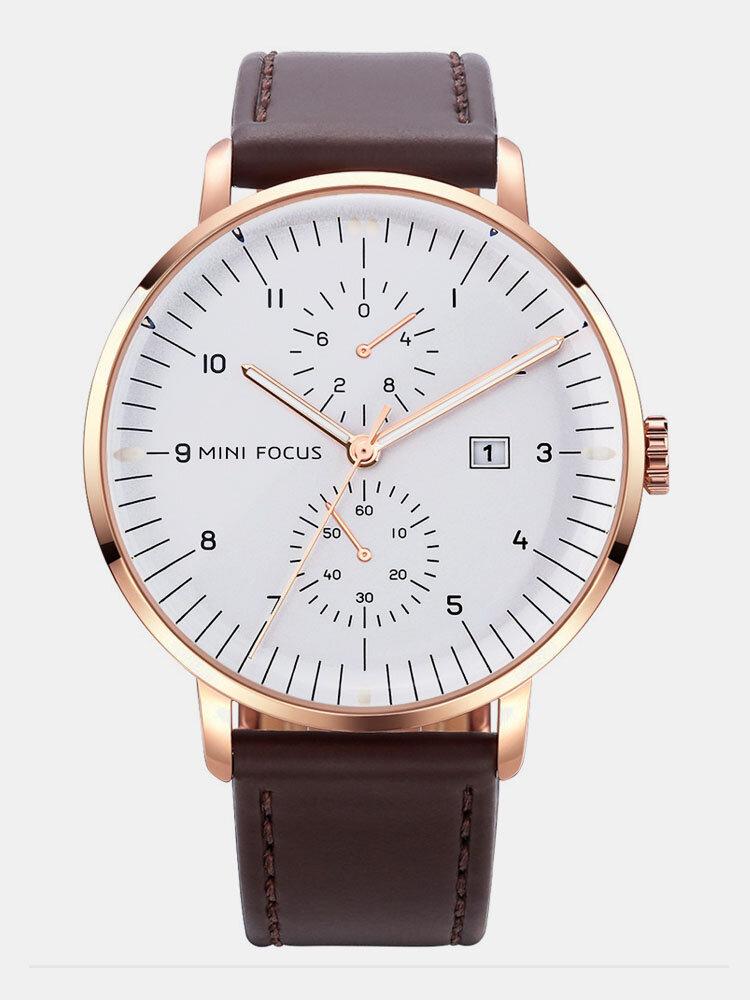 Leather Strap Men Watch Casual Style Luminous Hand Quartz Watches