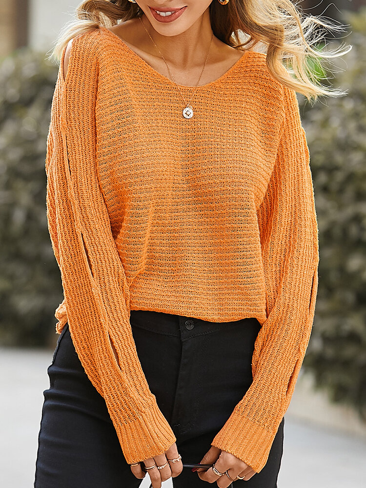 Solid Color Loose Hollow Out Casual Sweater For Women