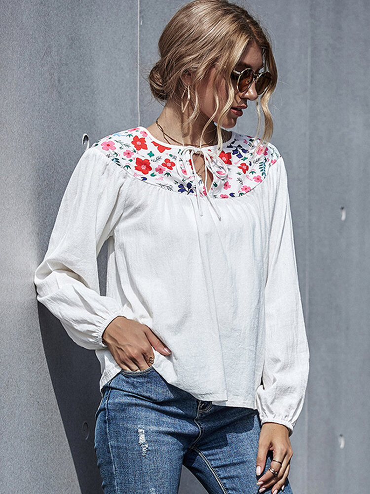 Flower Embroidery Long Sleeves Casual Blouse