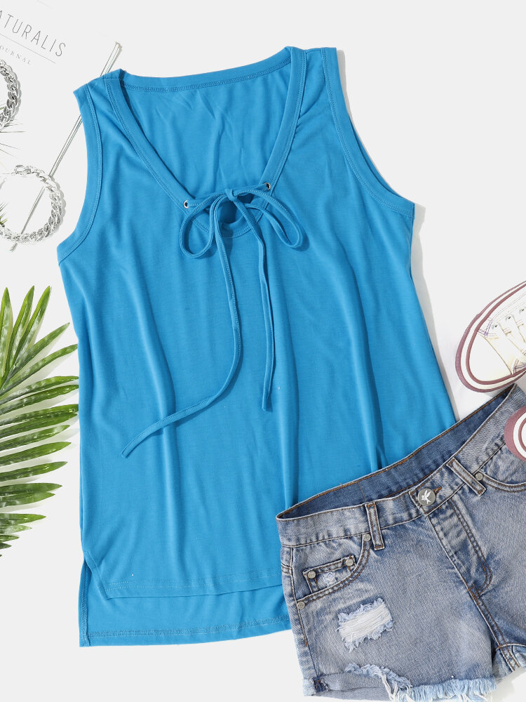 Solid Tie-up V-neck Plus Size Casual Tank Top