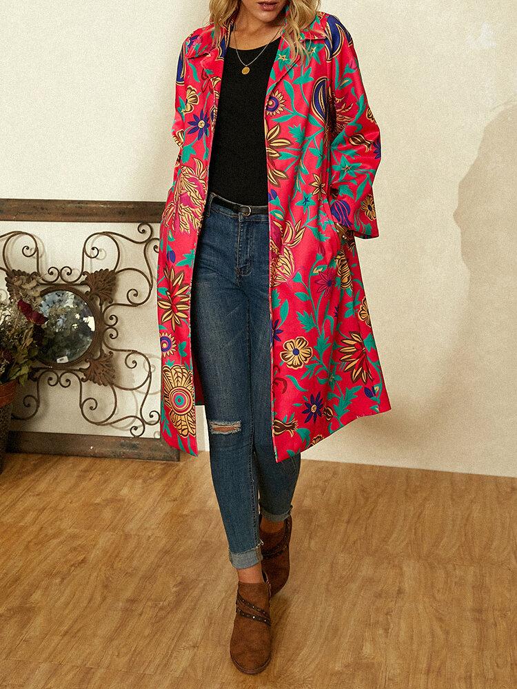 女性のための花柄プリント長袖ターンダウンカラーコート