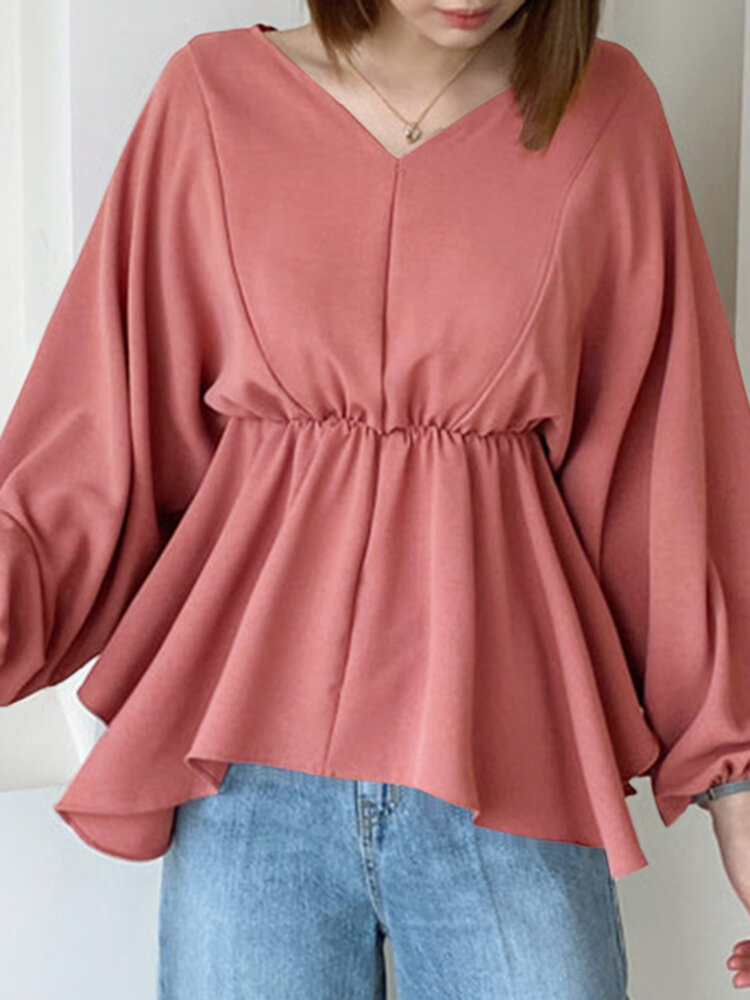 Solid V-neck Knotted Lantern Long Sleeve Women Blouse