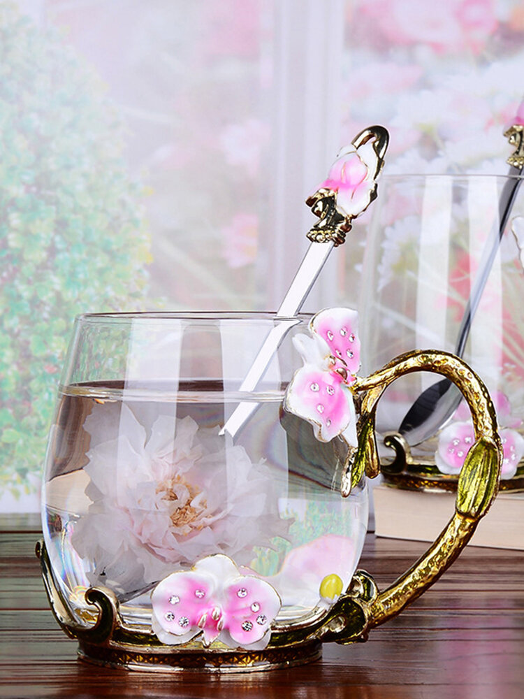 Flower Enamel Glass Cup Coffee Mug Exquisite Gift Butterfly Pattern Glass Tea Mug with Spoon