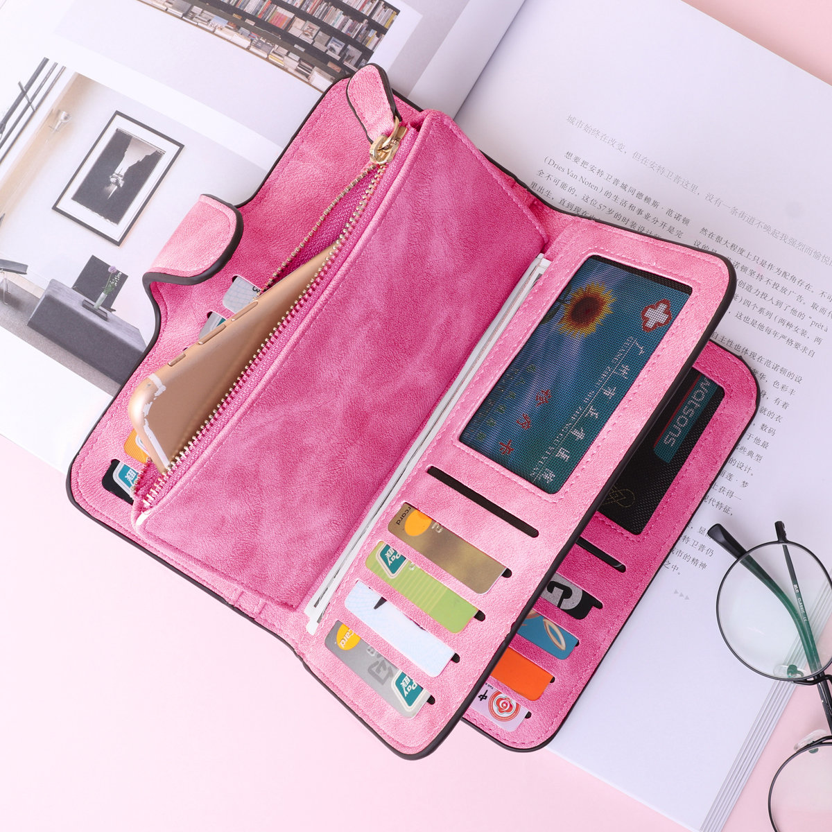 Woman Four Fold Wallet Purse 14 Card Slot PU Card Bag Multi-Slots 5.5 Inch Phone Bag (SKU551017) photo