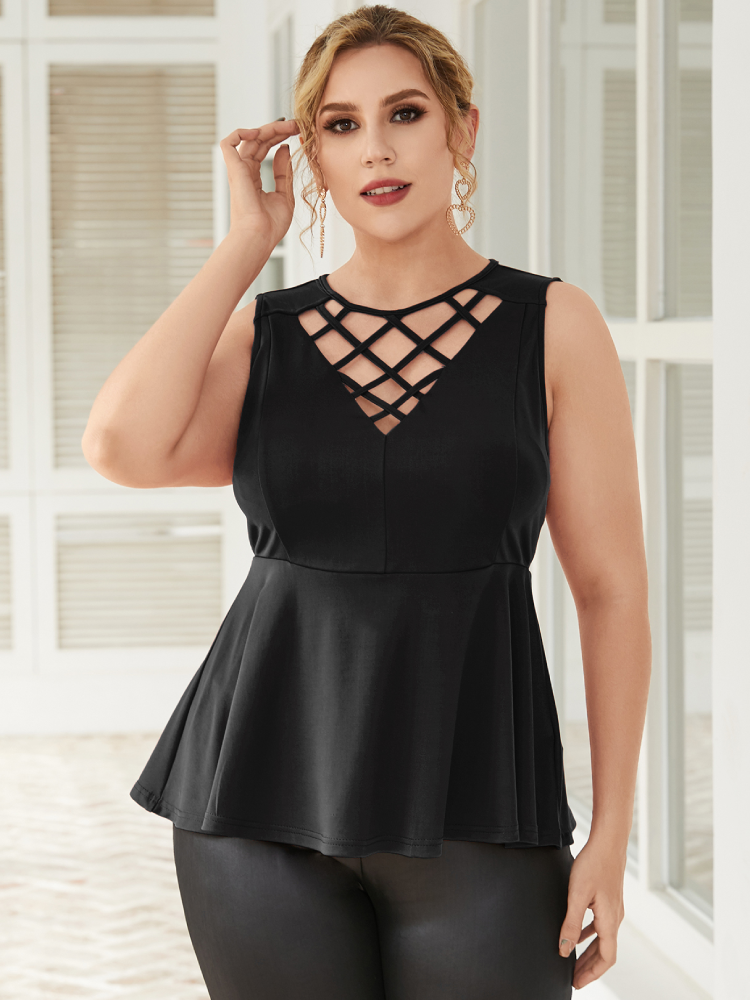 Casual Hollow Out Sleeveless Plus Size Tank Top