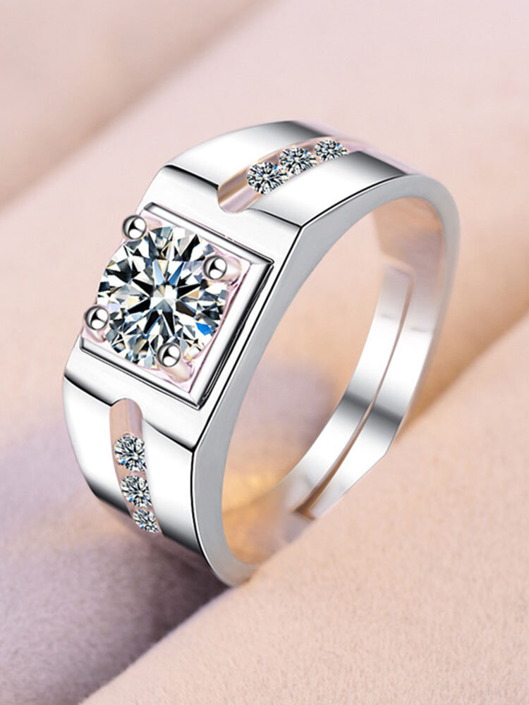 Elegant Couple Rings Gold Plated Inlaid Artificial Gemstone Open Ring Formal Jewelry for Women Men