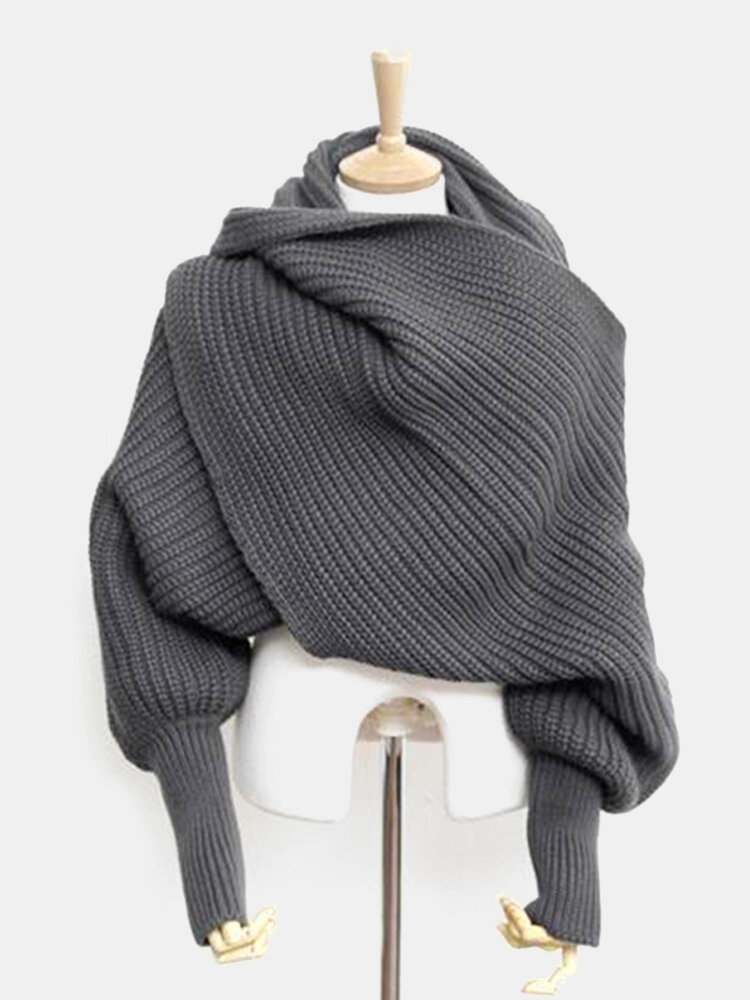 Women Unisex Winter Thick Warm Knitted Scarf With Sleeves Long Soft Wraps Scarves Novelty