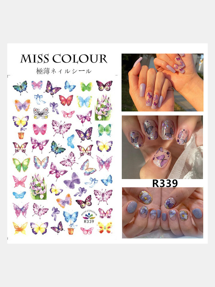 3D Colorful Waterproof Butterfly Nail Art Stickers Watermark DIY Colorful Tips Nail Decals Manicure