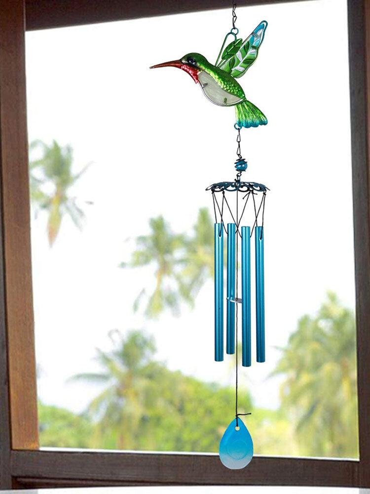 1 unidade Colorful Dragonfly Beija-flor Pingente Sino Tubo Wind Chimes Interior Exterior Jardim Enfeites de Decoração para Casa
