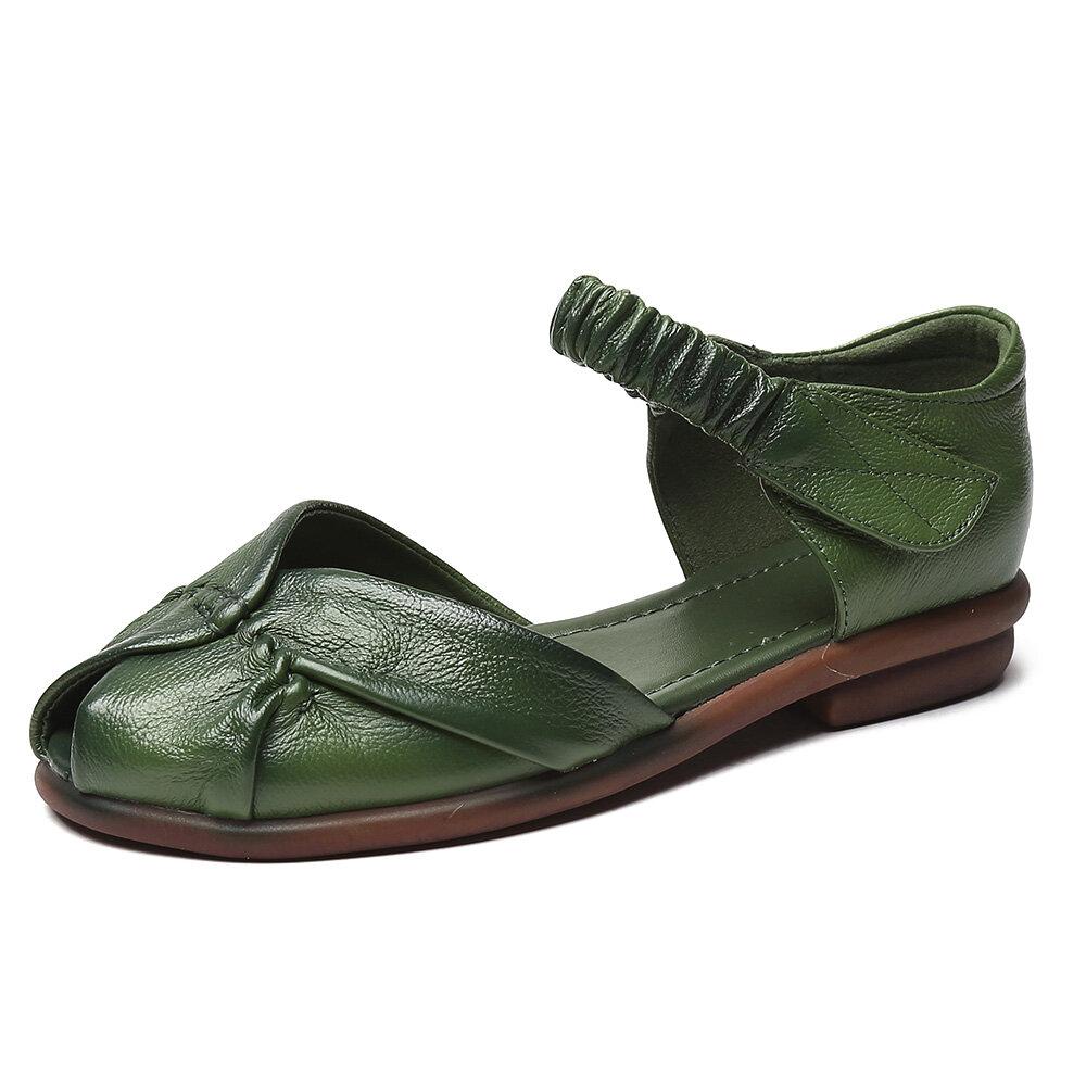 Retro Leather Ruffled Adjustable Ankle Strap Peep Toe Dorsay Flat Sandals