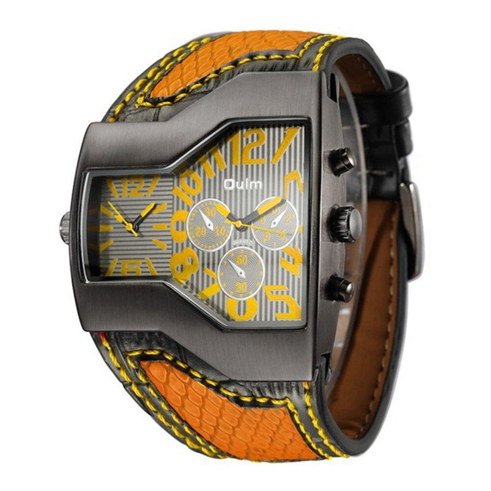 Reloj de pulsera deportivo de cuarzo con dos movimientos, grande Reloj, reloj de moda con correa de cuero para hombre