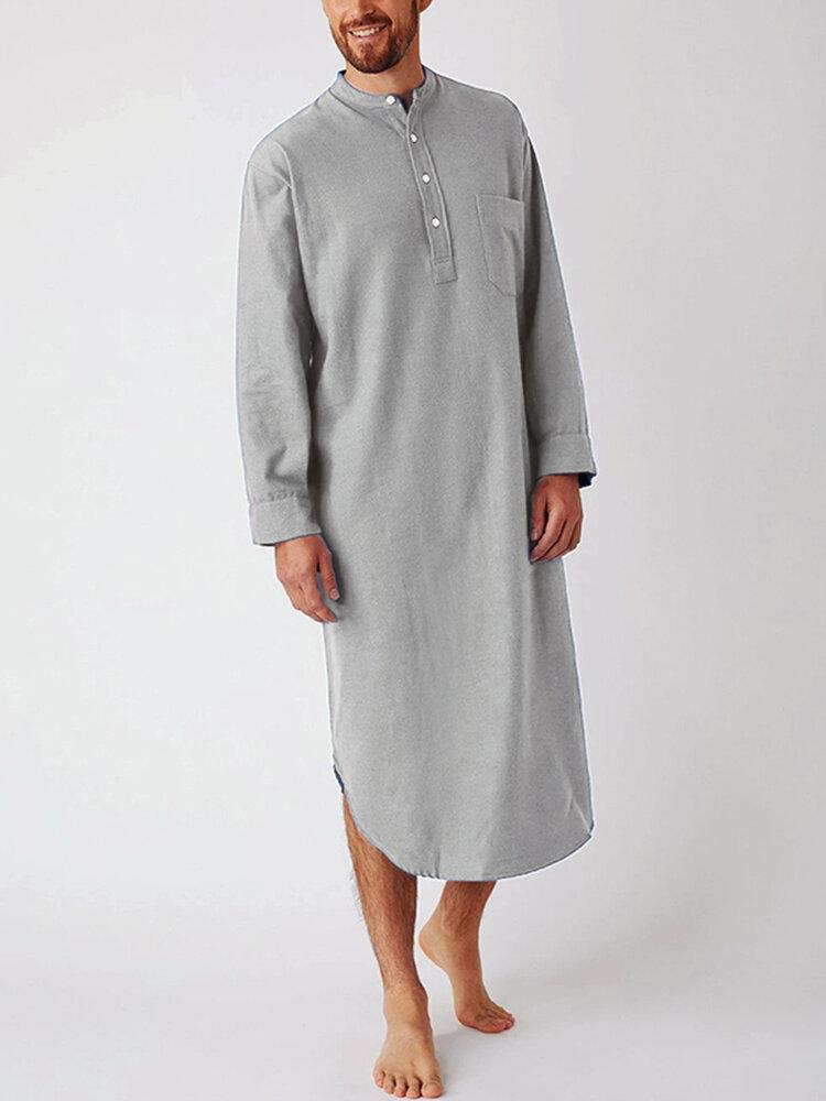 通気性の長さのヘンリー襟のデザイントップス無地コットンリネンカジュアルローブ男性用