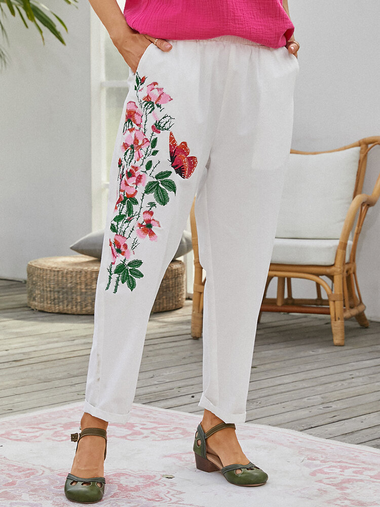 Flower Embroidery Pockets Casual Pants For Women