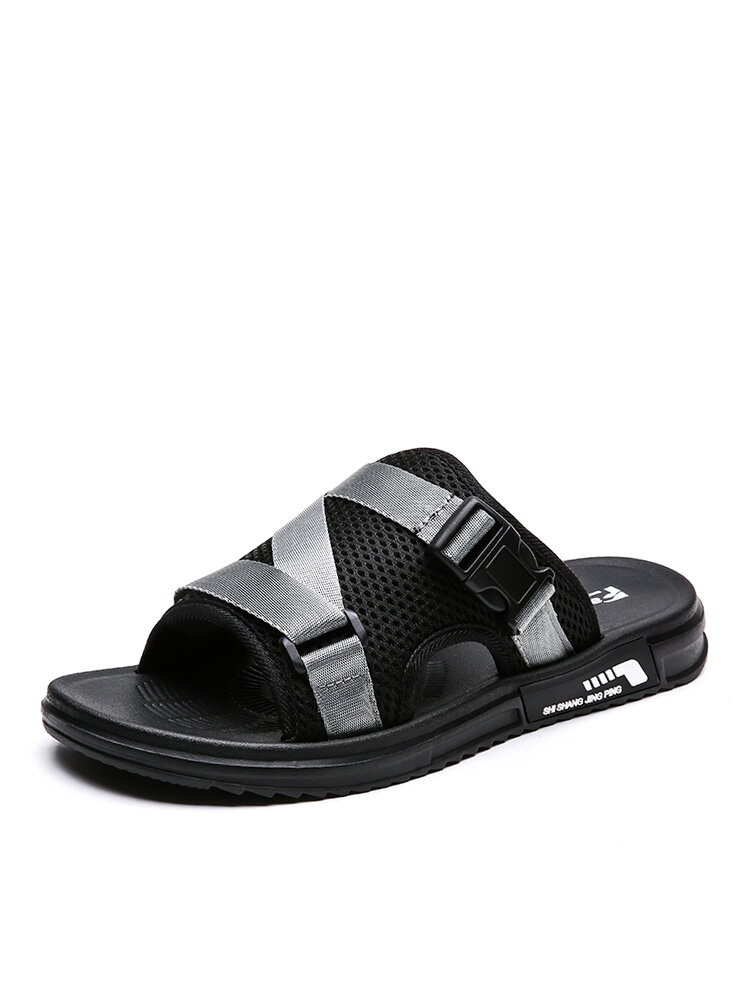 Men Soft Sole Opened Toe Ribbon Decoration Casual Slides Slippers