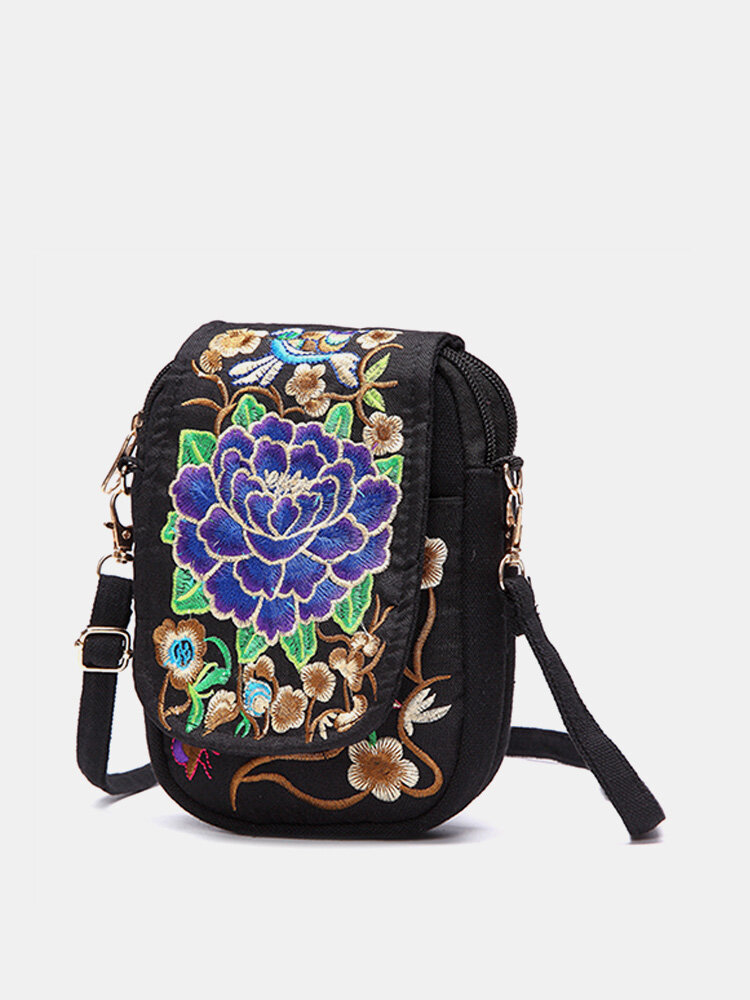 Woman Tribal Retro Shoulder Bag Canvas Chinese Style Phone Bag Little Bag For Woman