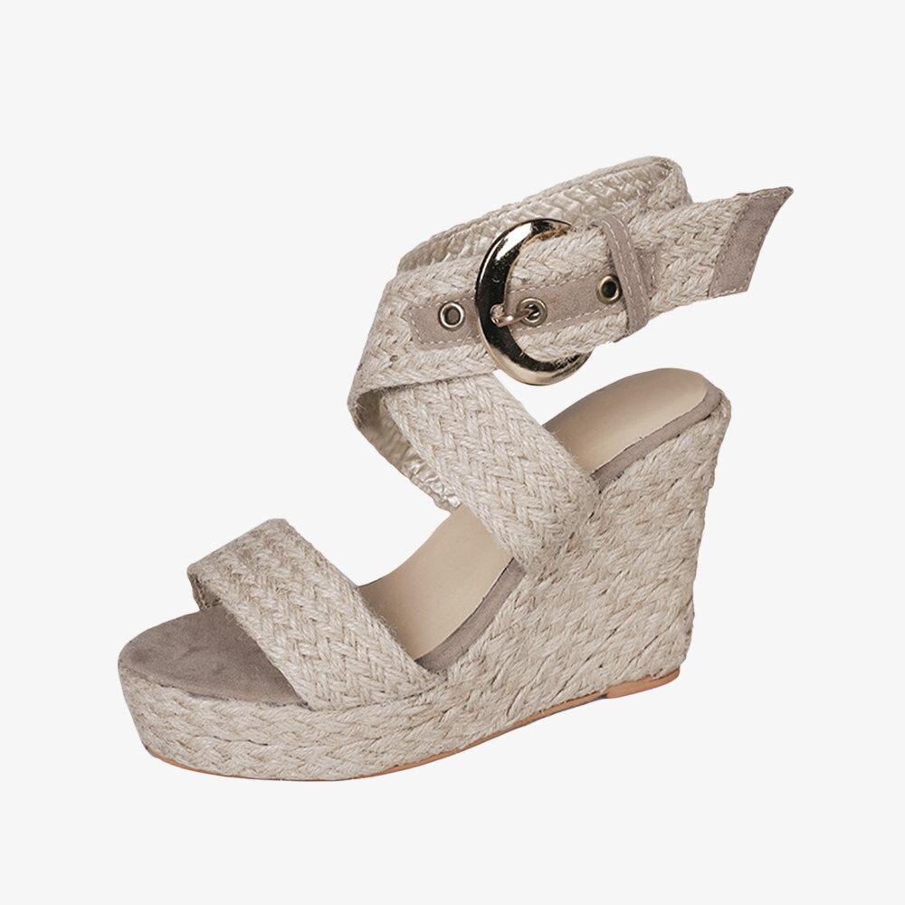 Women Wedges Heel Braided Espadrille Ankle Cross Buckle Strap Sandals