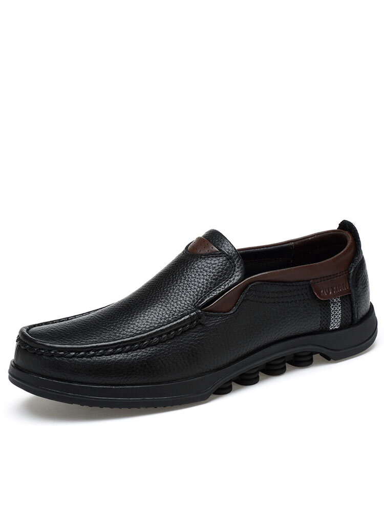 Men Cow Leather Non Slip Large Size Slip On Soft Sole Casual Shoes