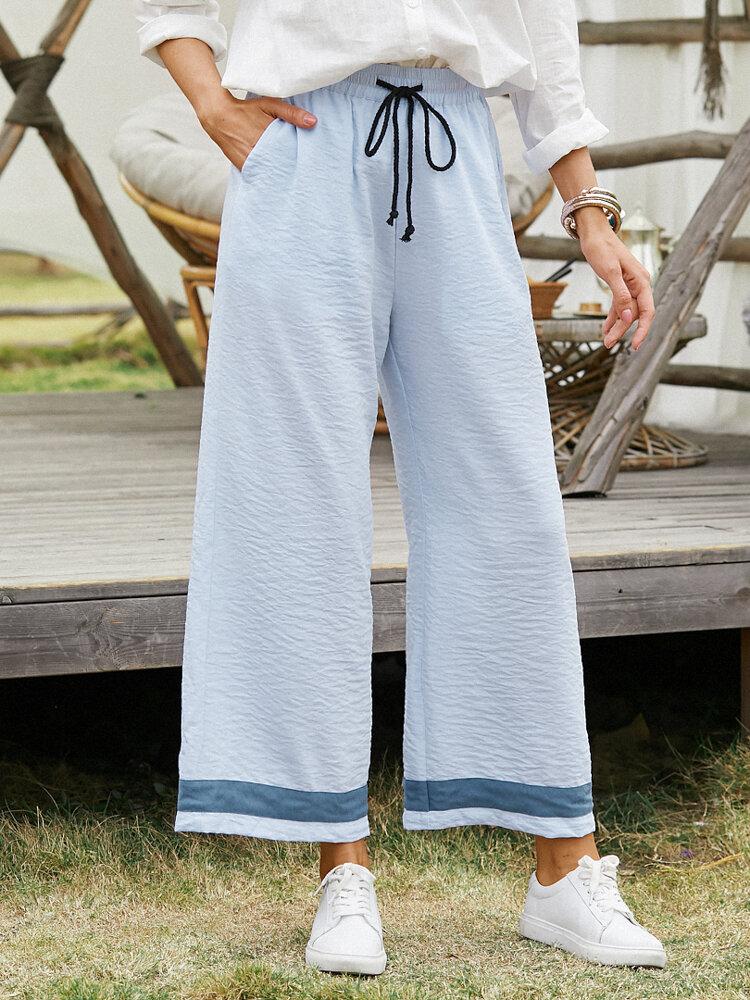 Striped Print Drawstring Pocket Lange Freizeithose für Damen