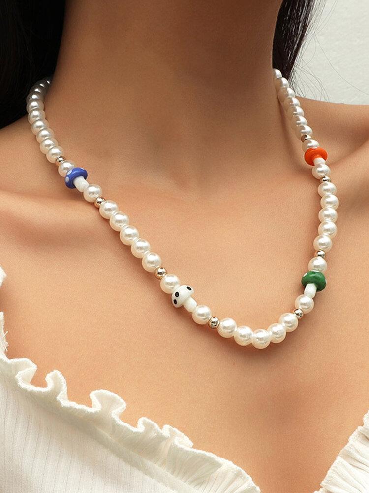 Collar de champiñones de perlas bohemias Collar de cuentas de temperamento