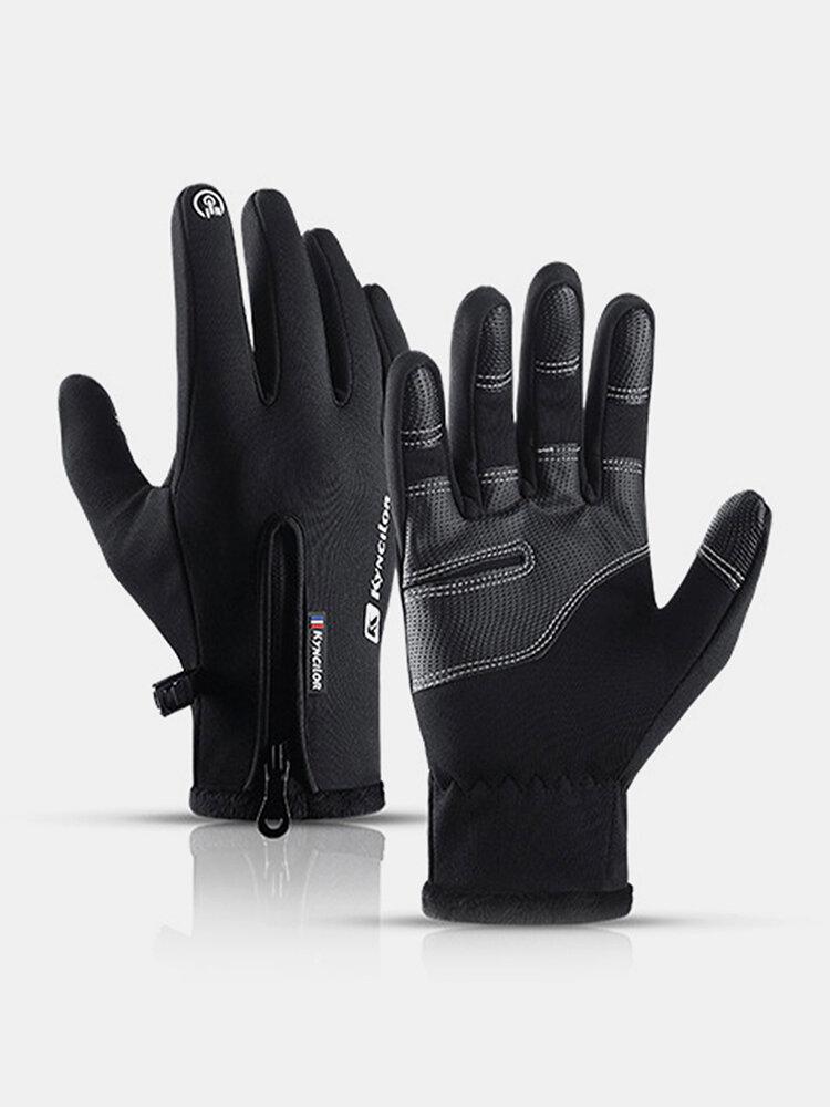 Unisex Fleece Screen Touchable Waterproof Winter Outdoor Keep Warm Waterproof Cycling Riding Full-finger Gloves