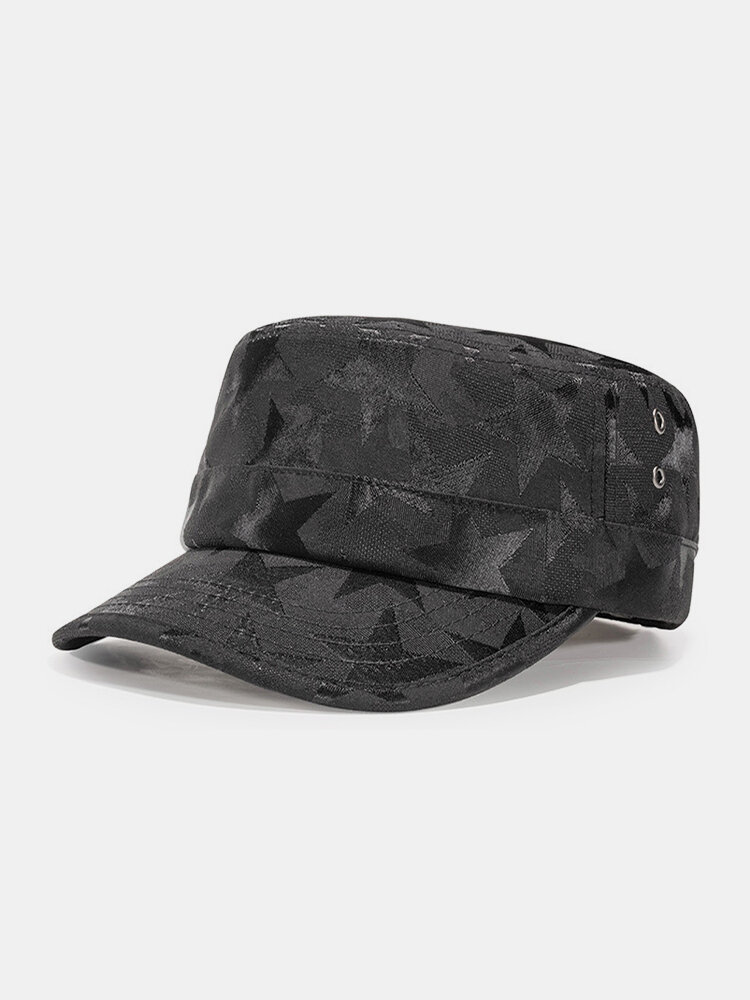 Men Dacron Five-pointed Star Dark Pattern Solid Color Breathable Military Hat