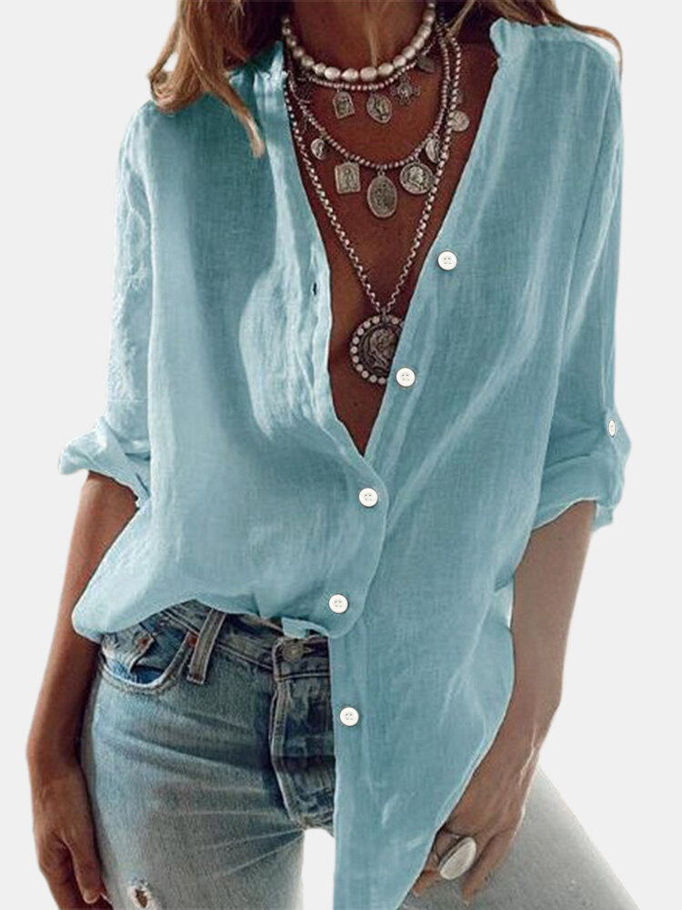 Solid Color Long Sleeve Stand Collar Casual Shirt For Women