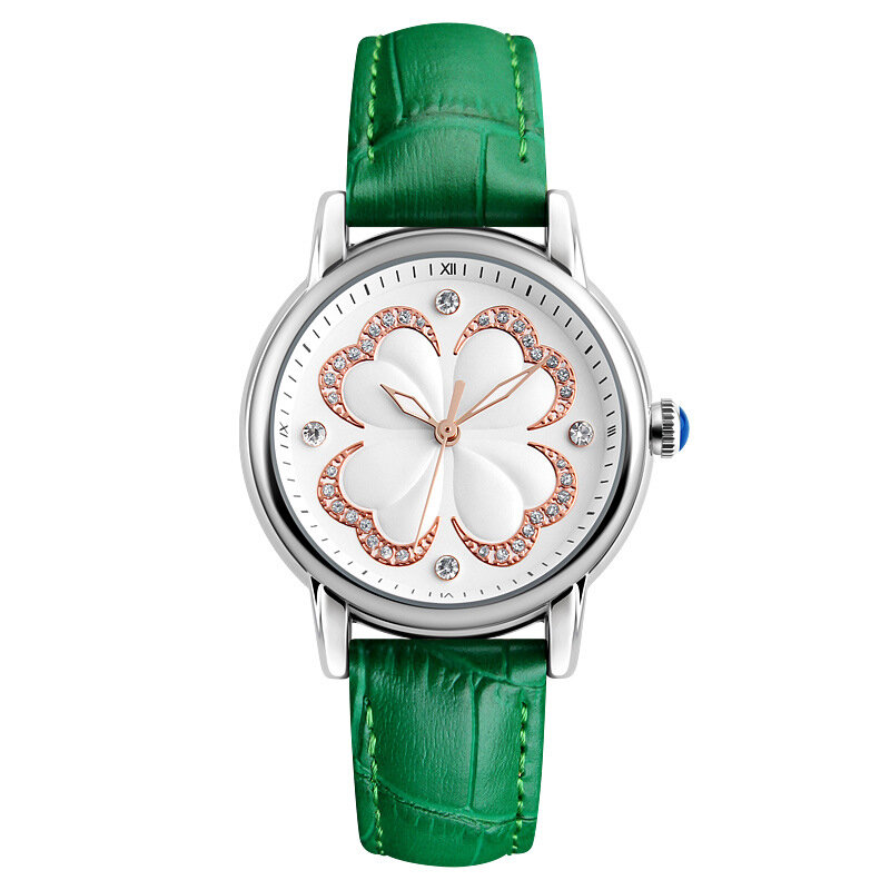 Casual Women Watches Leather Strap Casual Dress Quartz Watch Four-leaf Clover Watch