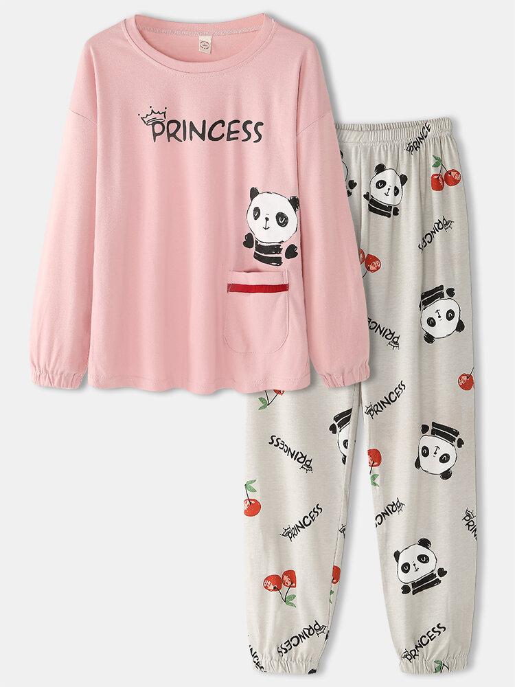 Women Plus Size Princess Cartoon Panda Print Cotton Two-Piece Home Pajamas Set With Pocket