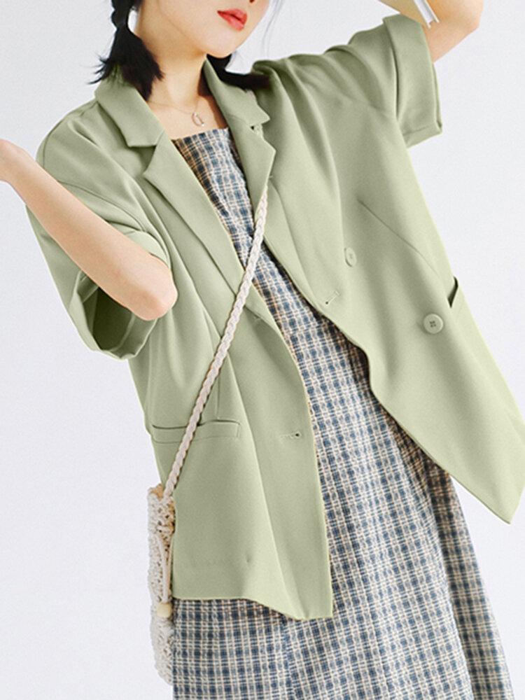 Einfarbiger Kurzarm-Umschlagkragen-Blazer für Damen