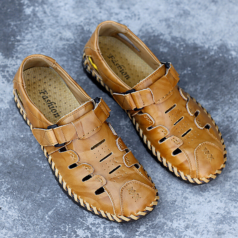 Men Hand Stitching Leather Non Slip Hook Loop Casual Sandals