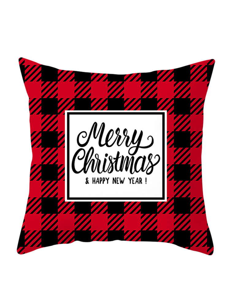 Black and Red British Style Christmas Series Winter Throw Pillow Case Home Sofa Christmas Decor