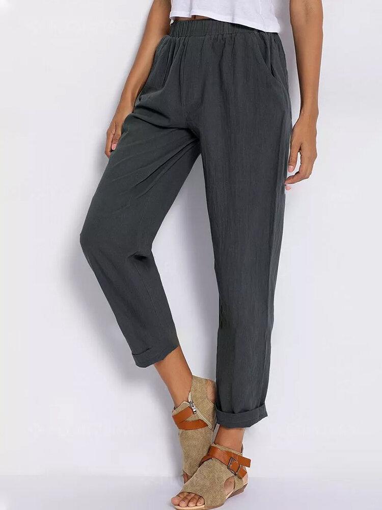 Solid Color Elastic Waist Casual Harem Pants For Women