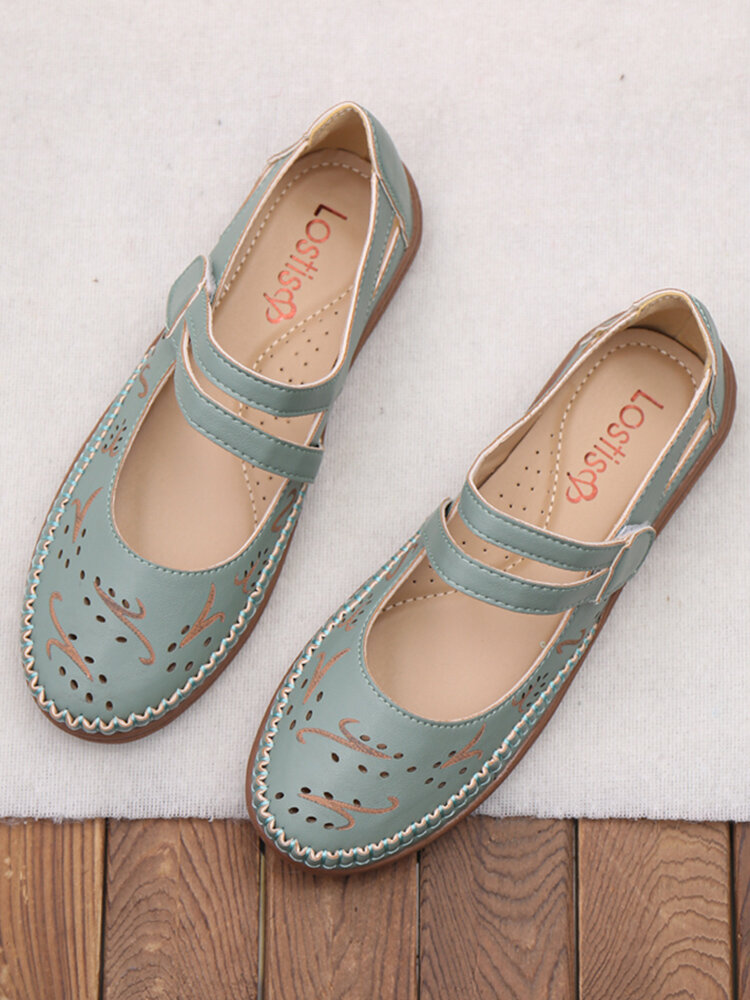 LOSTISY النساء اليد خياطة هوك حلقة حذاء مسطح