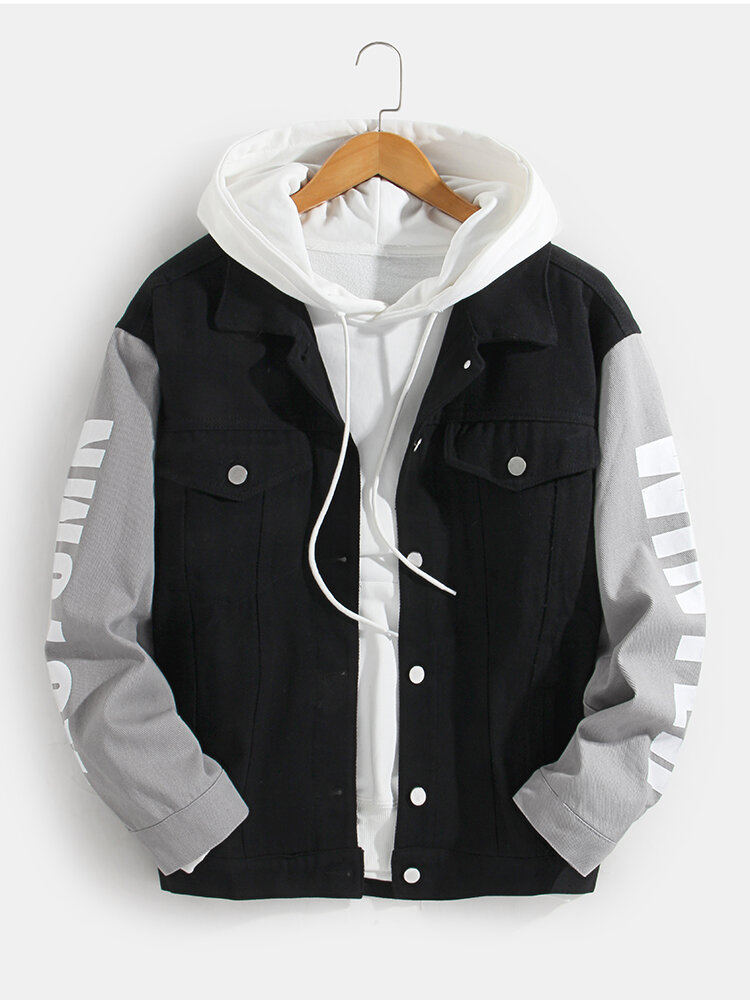 Mens Patchwork Letter Sleeve Print Double Pockets Casual Jacket