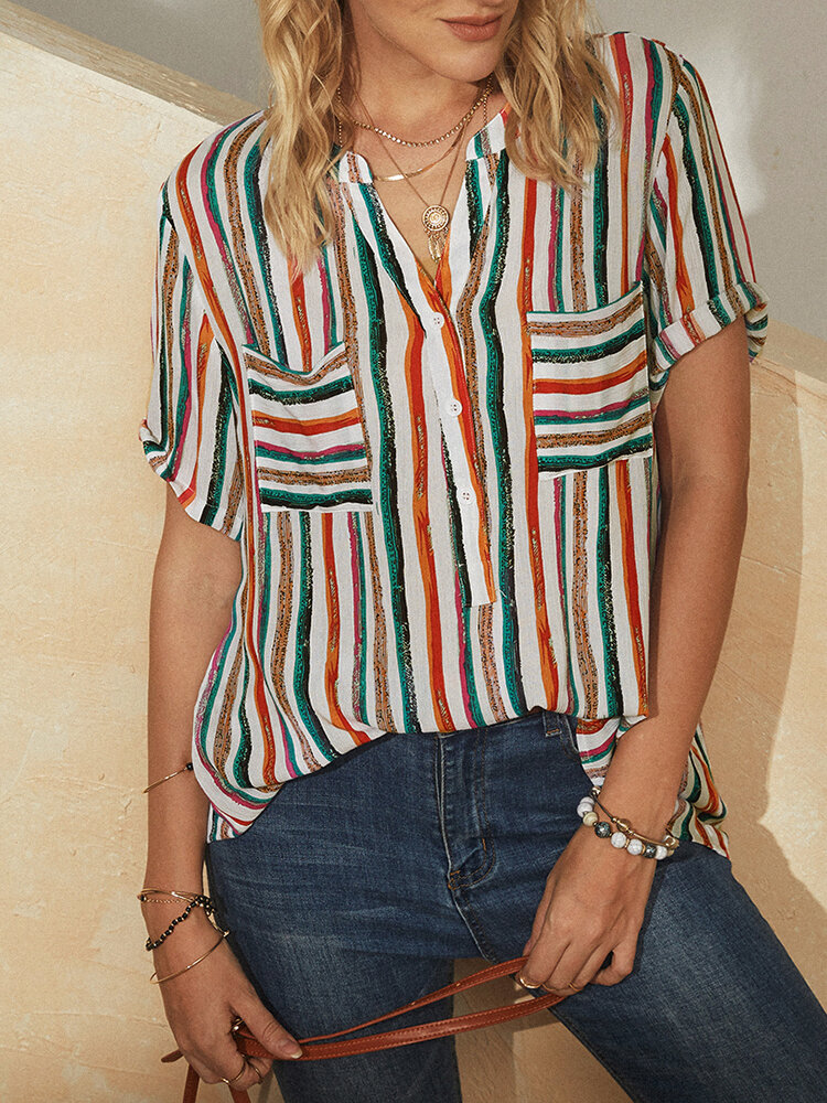 Striped Patchwork Stand Collar Button Short Sleeve Blouse