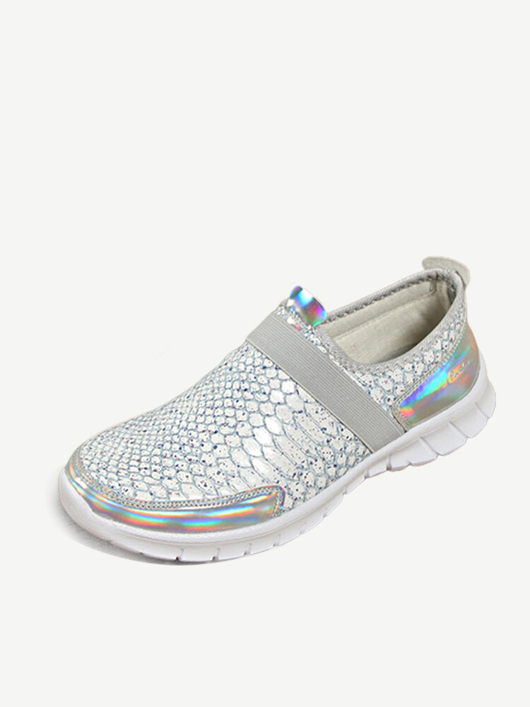 Women Casual Sports Snake Skin Sequined Slip On Shoes