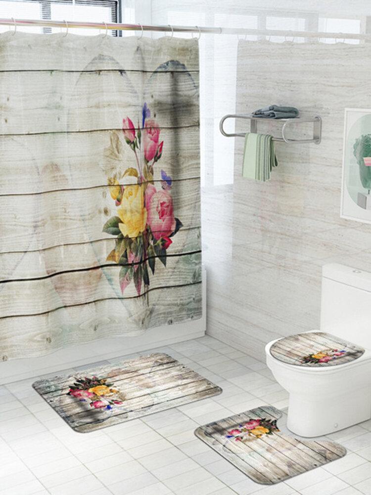 Wooden Board Love Bouquet Printing Toilet Floor Mat Four-Piece Bathroom Non-Slip Carpet Set