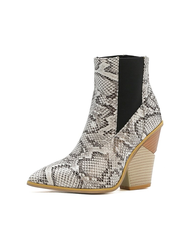 Plus Size Women Animal Print Pointed Toe High Heel Short Boots