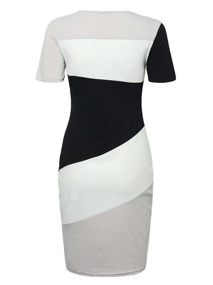 Contrast Color Short Sleeve O-neck Sheath Pencil Dress is comfortable see other simple casual dress on NewChic.
