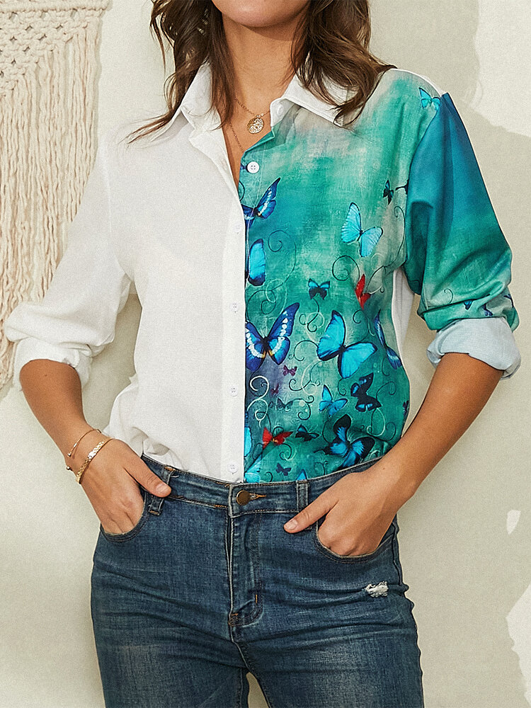 Butterfly Print Button Lapel Long Sleeve Casual Blouse For Women