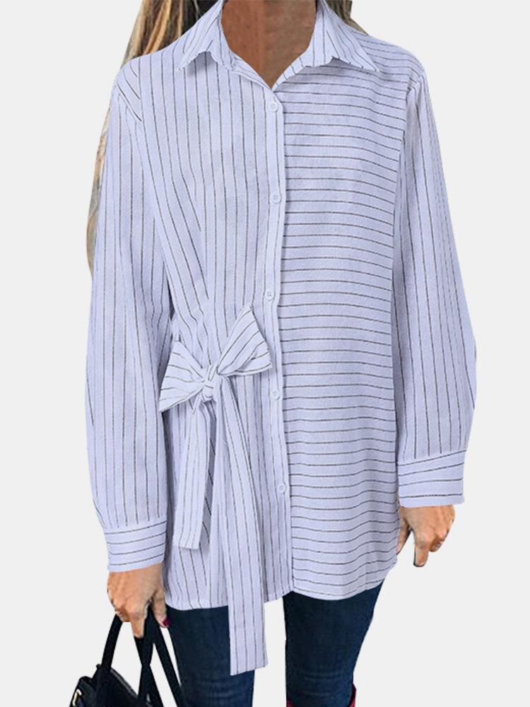 Bowknot Striped Print Long Sleeve Cotton Shirt For Women