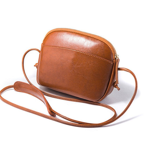 Women Solid Leisure Mini Shell Bags Vintage Phone Bags Faux Leather Crossbody Bags