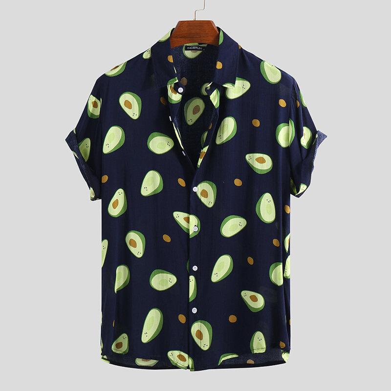Mens Avocado Fruits Printing Summer Short Sleeve Thin Loose Casual Shirt